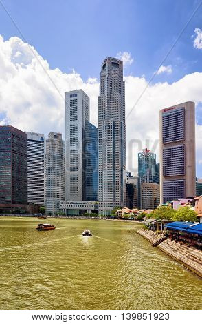 Skyscrapers Of Downtown Core Along Quay District Embankment In Singapore