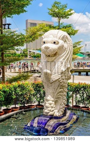Small Merlion Statue At Merlion Park At Marina Bay Singapore