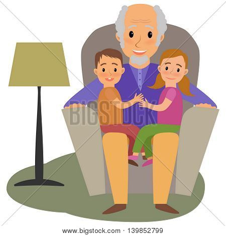 Happy family whit grandchildrens and granddad on the sofa
