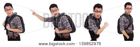 Young employee with backpack isolated on white