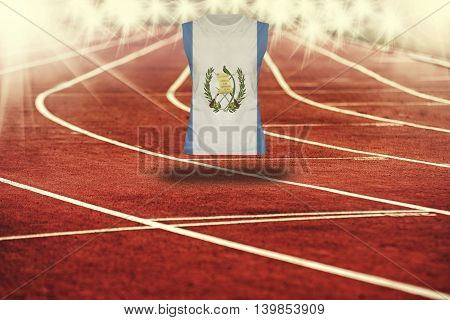 Red Running Track With Lines And Guatemala Flag On Shirt