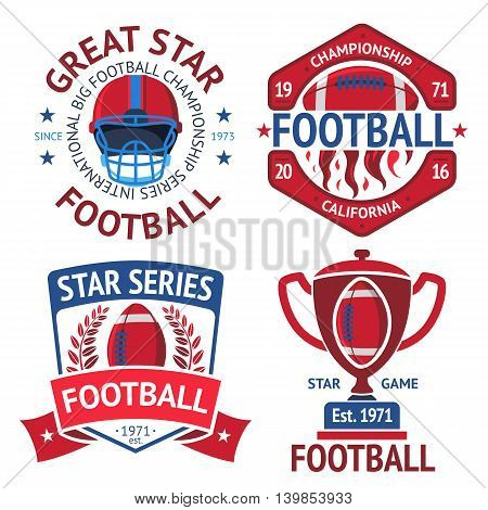Set of american football rugby labels with american football ball, burning ball, helmet, winner bowl. Vector illustration