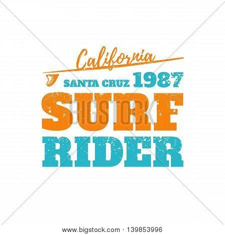 Surf rider California. Vector print on t-shirt