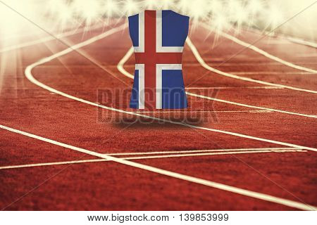 Red Running Track With Lines And Iceland Flag On Shirt