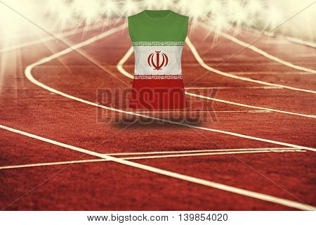 Red Running Track With Lines And Iran Flag On Shirt