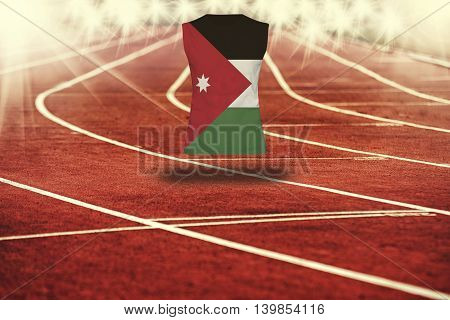 Red Running Track With Lines And Jordan Flag On Shirt