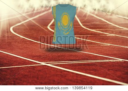 Red Running Track With Lines And Kazakhstan Flag On Shirt