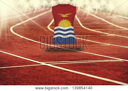 Red Running Track With Lines And Kiribati Flag On Shirt