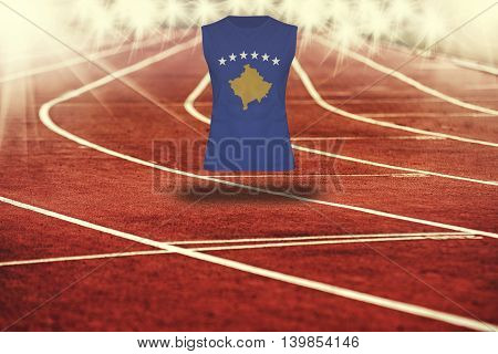 Red Running Track With Lines And Kosovo Flag On Shirt