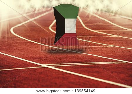 Red Running Track With Lines And Kuwait Flag On Shirt