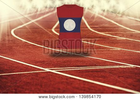 Red Running Track With Lines And Lao Pdr Flag On Shirt