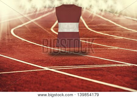 Red Running Track With Lines And Latvia Flag On Shirt