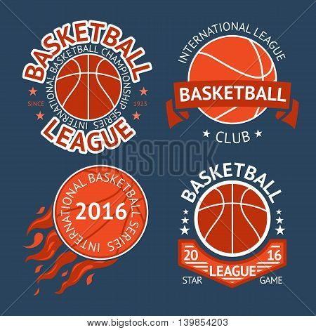 Set of basketball labels with balls and ribbons. Vector illustration