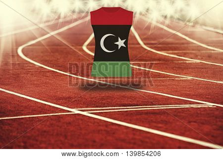 Red Running Track With Lines And Libya Flag On Shirt