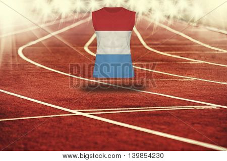 Red Running Track With Lines And Luxembourg Flag On Shirt