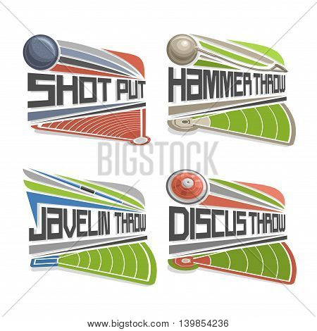Vector logo for Athletics Field, consisting of abstract discus throw, shot put, throwing hammer, javelin. Track and field stadium equipment for atletic  games
