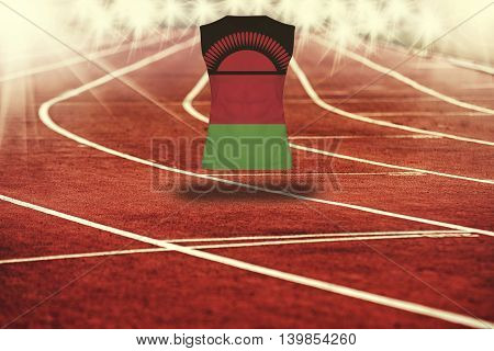 Red Running Track With Lines And Malawi Flag On Shirt