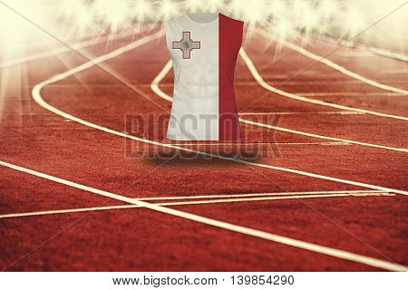 Red Running Track With Lines And Malta Flag On Shirt
