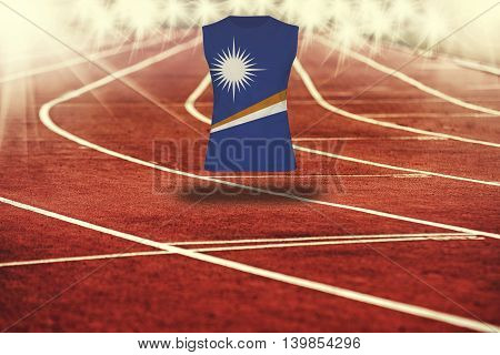 Red Running Track With Lines And Marshall Islands Flag On Shirt