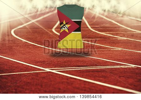 Red Running Track With Lines And Mozambique Flag On Shirt