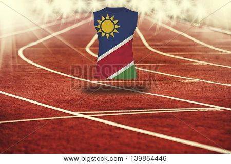 Red Running Track With Lines And Namibia Flag On Shirt