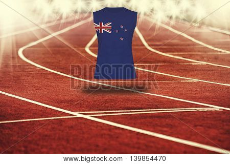 Red Running Track With Lines And New Zealand Flag On Shirt