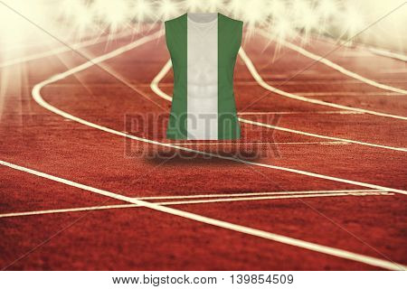 Red Running Track With Lines And Nigeria Flag On Shirt