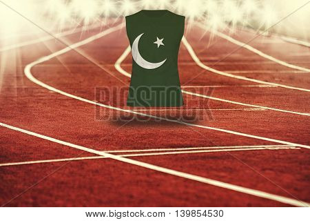 Red Running Track With Lines And Pakistan Flag On Shirt