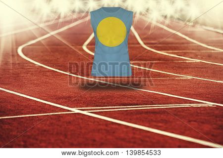 Red Running Track With Lines And Palau Flag On Shirt