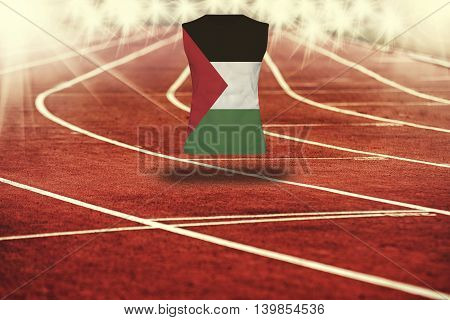 Red Running Track With Lines And Palestine Flag On Shirt