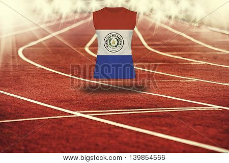 Red Running Track With Lines And Paraguay Flag On Shirt