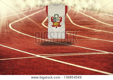 Red Running Track With Lines And Peru Flag On Shirt