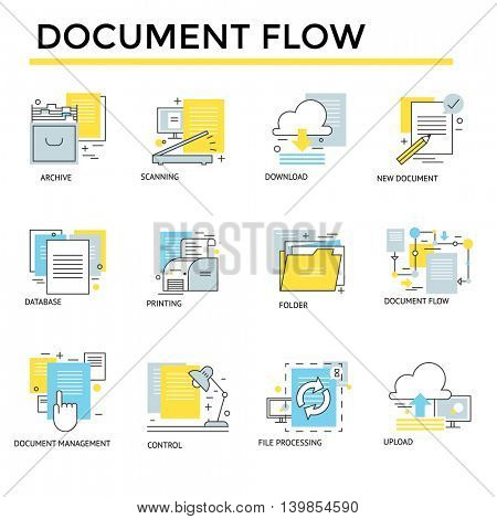 Document flow icons, thin line, flat design