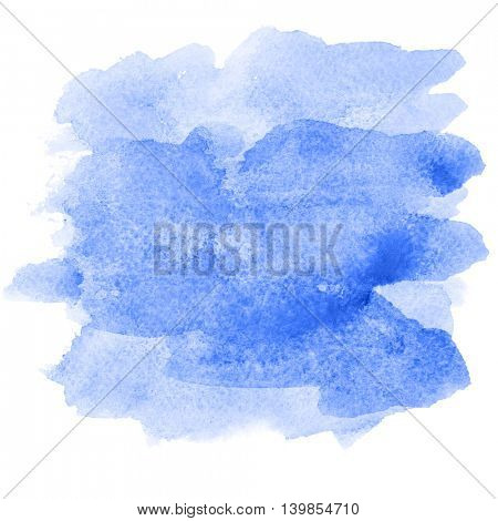 Blue watercolor brush strokes isolated on white - abstract background or space for your own text