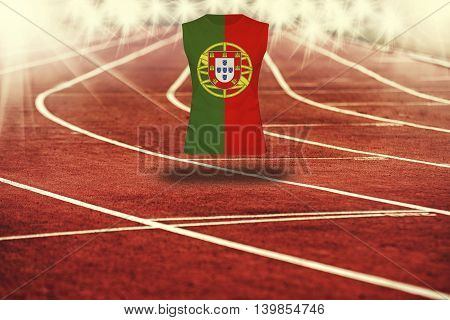 Red Running Track With Lines And Portugal Flag On Shirt