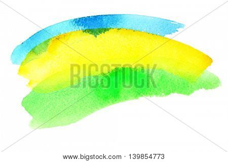 Watercolor brush strokes. Colours resemble flag of Brazil (Green, yellow, blue)