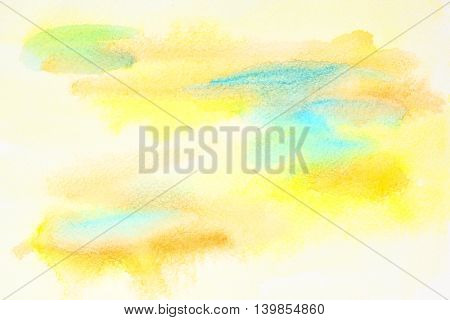 Pastel yellow abstract watercolor background with paper txture