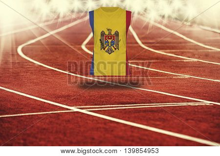 Red Running Track With Lines And Republic Of Moldova Flag On Shirt