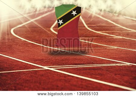 Red Running Track With Lines And Saint Kitts & Nevis Flag On Shirt