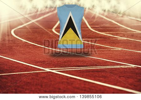 Red Running Track With Lines And Saint Luca  Flag On Shirt
