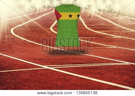Red Running Track With Lines And Sao Tome & Principe  Flag On Shirt