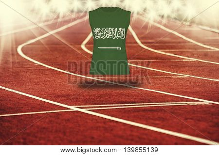 Red Running Track With Lines And Saudi Arabia Flag On Shirt