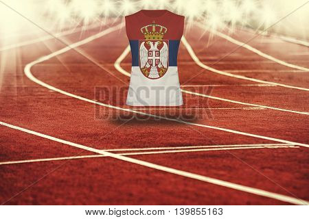 Red Running Track With Lines And Serbia Flag On Shirt