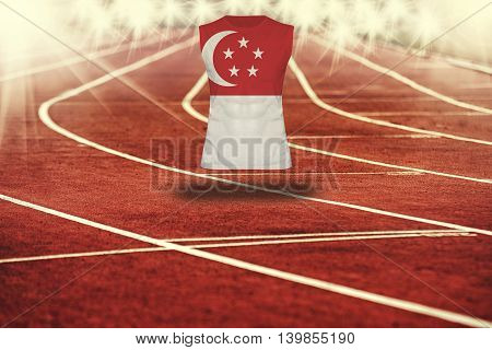 Red Running Track With Lines And Singapore Flag On Shirt