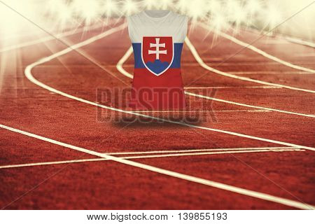 Red Running Track With Lines And Slovakia Flag On Shirt