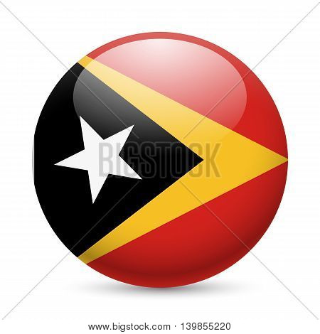 Flag of East Timor as round glossy icon. Button with flag design
