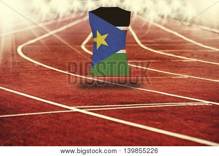 Red Running Track With Lines And South Sudan Flag On Shirt