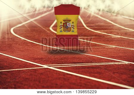 Red Running Track With Lines And Spain Flag On Shirt