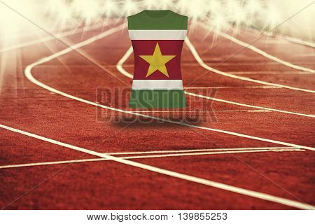 Red Running Track With Lines And Suriname Flag On Shirt