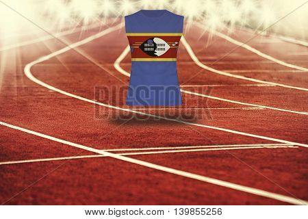 Red Running Track With Lines And Swaziland Flag On Shirt